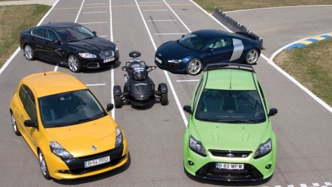 Can-Am Spyder vs. Clio Sport vs. Focus RS vs. R8 vs XFR