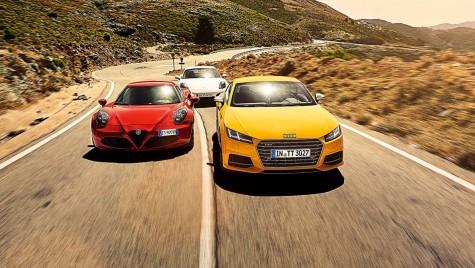 Un test special între Audi TTS, Alfa Romeo 4C şi Porsche Cayman GTS