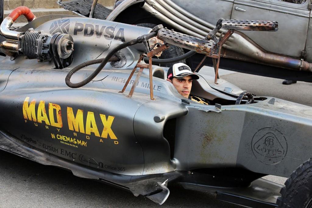 Pastor Maldonado (VEN) Lotus F1 Team promoting the film Mad Max: Fury Road.Spanish Grand Prix, Friday 8th May 2015. Barcelona, Spain.