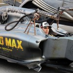 Pastor Maldonado (VEN) Lotus F1 Team promoting the film Mad Max: Fury Road.Spanish Grand Prix, Friday 8th May 2015. Barcelona, Spain.