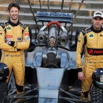 (L to R): Romain Grosjean (FRA) Lotus F1 Team and team mate Pastor Maldonado (VEN) Lotus F1 Team with special race overalls and car livery to promote the film Mad Max: Fury Road.Spanish Grand Prix, Friday 8th May 2015. Barcelona, Spain.