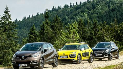 Renault Captur versus Citroën C4 Cactus, Peugeot 2008. Picnic cu baguettes diesel