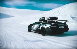 Lamborghini Murcielago LP 640 pe pista de schi