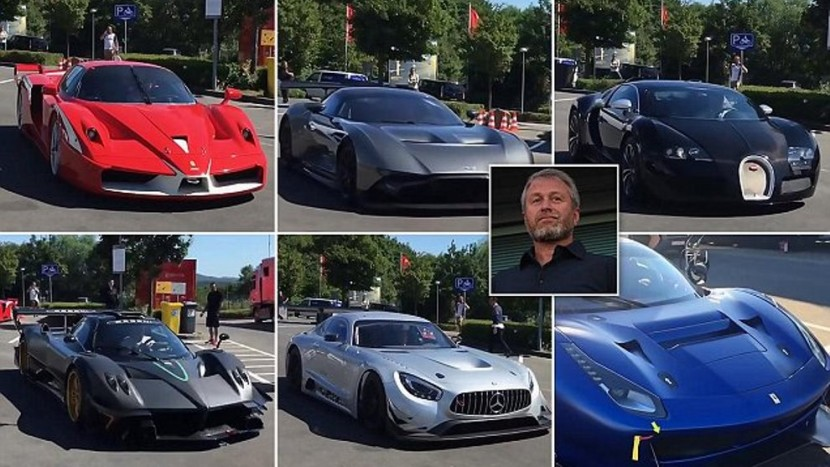 """Pic shows: The super cars;nnRussian tycoon Roman Abramovich showed off his fancy cars while driving with his friends during a luxurious display at the German Nurburgring race track.nnExperts estimate that the total value of all the cars that were on display is around 11.4 million USD (8.5 million GBP).nnIt was the first time the Russian oligarch and Chelsea owner, 49, made a public appearance in his high-end vehicles.nnThe track owner is none other than Abramovich¿s former business partner, another Russian oligarch called Viktor Kharitonin, who invited Mr Abramovich to attend the famous track.nnAmong the cars that Mr Abramovich took to Germany was a very rare Pagani Zonda R, of which only 15 have ever been produced and that comes with an estimated price tag of 3 million USD (2.5 million GBP).nnAnother car that the wealthy businessman took to the track was a Ferrari FXX, a prototype supercar, one of which is owned by F1 legend Michael Schumacher, who drove it on Top Gear in 2009, with Schumacher dressed as The Stig.nnMr Kharitonin became the owner of the track in 2014. During the two-day event, the racing track was closed to the public so the businessmen could play with their toys.nnTatiana Golovlyovo, an instructor at the prestigious track, said: """"Usually track days are organised for the owner of the Nurburgring, Viktor Kharitonin. This is an exclusive event for the owner and his friends, nobody else (apart from the staff and crew working for event) can enter the property.""""nnMs Golovlyovo noted that until this event, nobody had ever seen so much of Abramovich¿s collection, which includes a Bugatti Veyron, a Ferrari 488 GT3, a Mercedes-Benz AMG GT3, a Lamborghini Reventon, an Aston Martin Vulcan, and many more.nnAccording to reports, the businessmen spent the whole first day racing on the ¿Nordschleife¿ (¿Northern Loop¿), which is the longest section of the Nurburgring at 20.8 kilometres (13 miles).nnOn the second day, the businessmen spent their time on the much sho"""