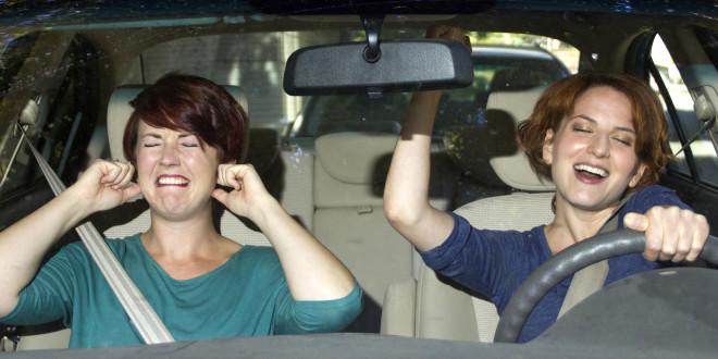 two women on a road trip inside a car