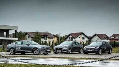 Test drive Jaguar XF 20d vs Mercedes E 220 d vs Volvo S90 D5 AWD