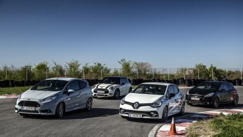 Test drive Ford Fiesta ST200 vs Mini Cooper S vs Peugeot 208 GTI vs Renault Clio RS Trophy