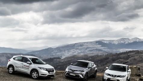 Test drive Nissan Qashqai, Honda HR-V și Toyota C-HR