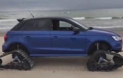 Cum să-ți faci loc pe plaja ultra-aglomerată! El e trăsnitul care și-a pus șenile la Audi