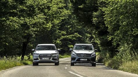 Test comparativ: Mercedes GLE 500 e vs Audi Q7 e-tron. Monștrii verzi