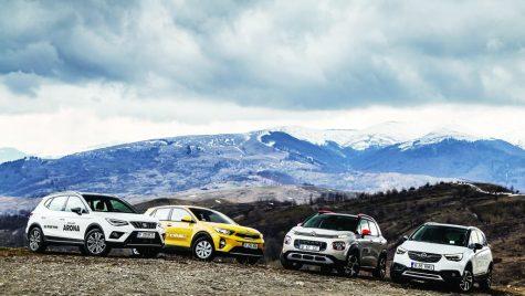 Comparativ SUV-uri mici: Citroen C3 Aircross vs Kia Stonic vs Seat Arona vs Opel Crossland X (video)