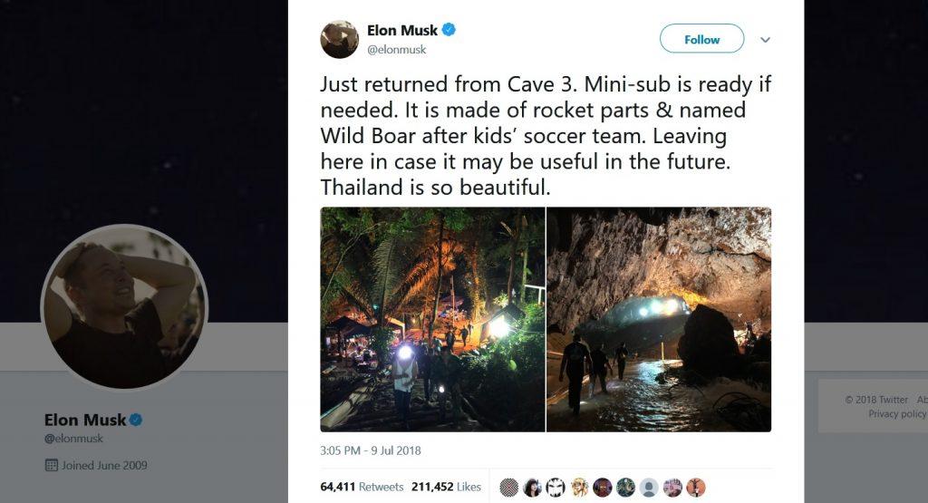 Elon Musk pestera Thailanda