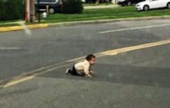 Un bebeluș fugit de acasă a blocat traficul pe o stradă aglomerată