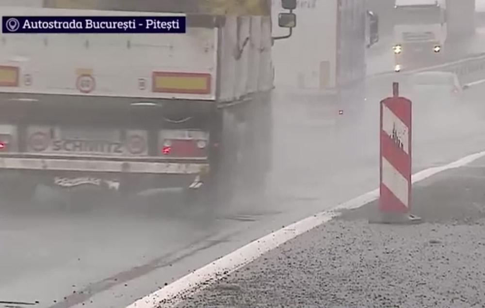 Dezastru pe Autostrada Bucureşti - Piteşti după prima ninsoare
