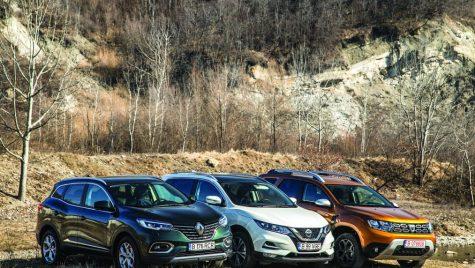 Premieră mondială: primul test comparativ Dacia Duster TCe150 vs Nissan Qashqai 1.3 DiG-T160, Renault Kadjar TCe160