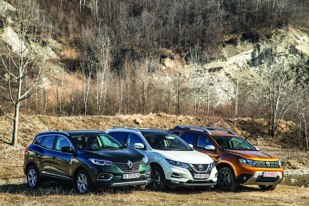 test comparativ Dacia Duster TCe150, Nissan Qashqai 1.3 DIG-T160, Renault Kadjar TCe160