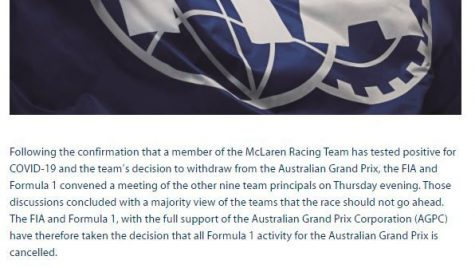 Formula 1: Marele Premiu al Australiei 2020 a fost anulat cu o oră înainte de startul antrenamentelor libere