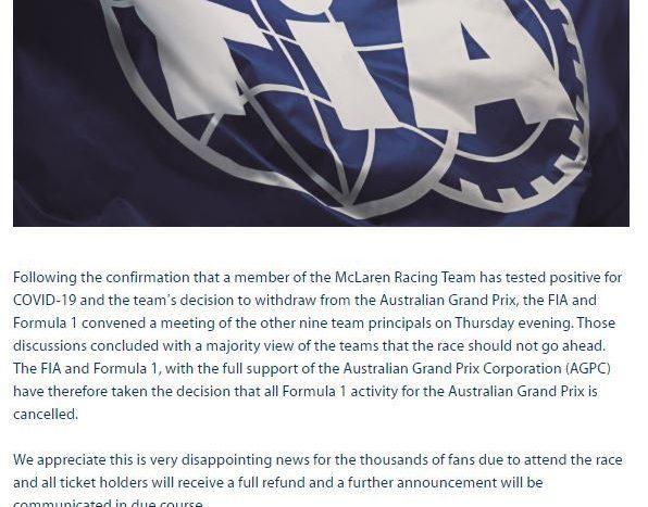 Marele Premiu al Australiei anulat