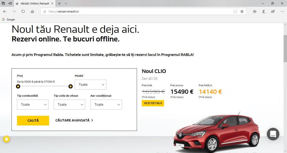 Platformele e-commerce Dacia Renault
