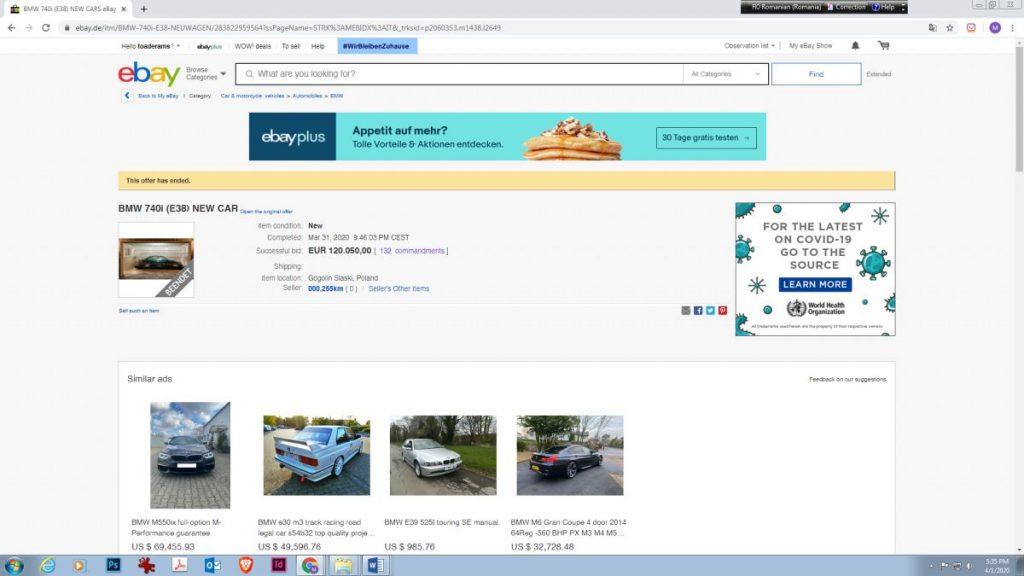 BMW 740i E38 pret final ebay
